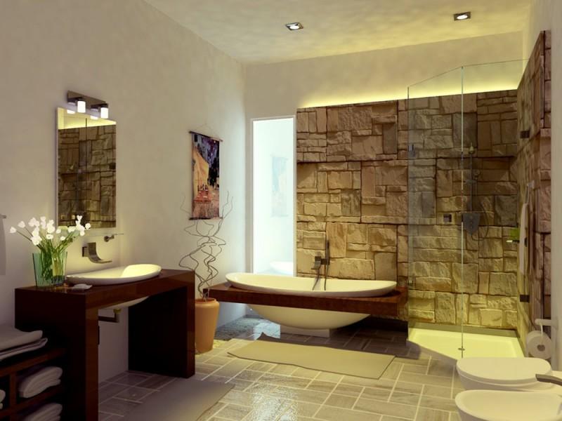 Stunning Modern Style Oriental Bathroom Stone Wall Elegant Bathtub