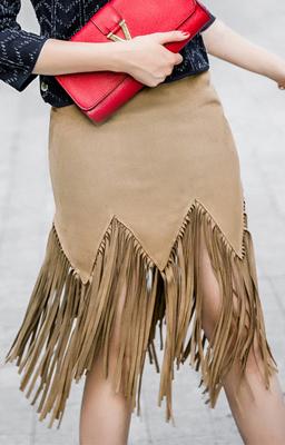 Mujeres-2015-otoño-moda-boho-gypsy-falda-negro-de-color-caqui-hasta-la-rodilla-equipada-suede