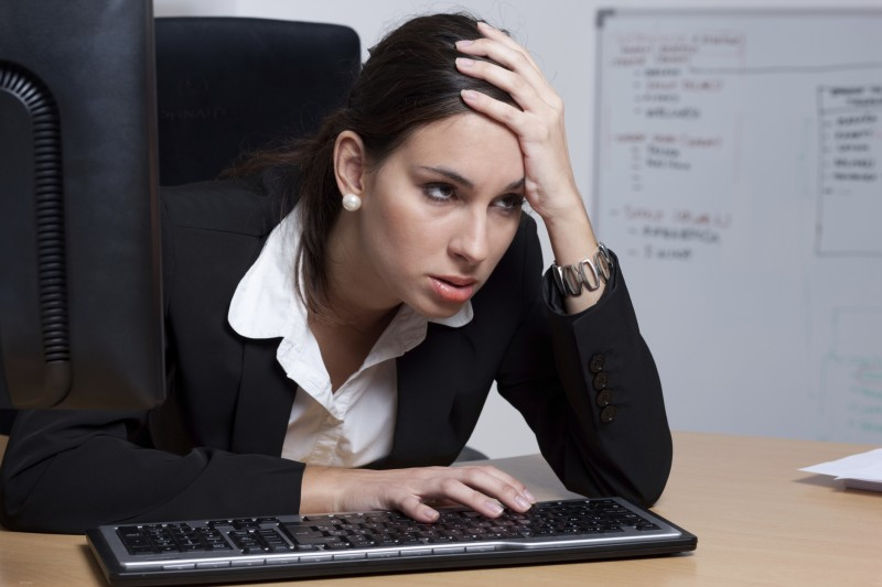 Tired businesswoman fed up with her job