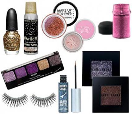 make-up con brillos